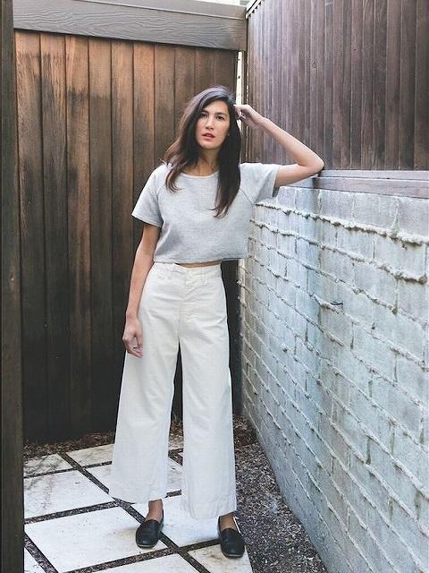 太って見えない着やせをかなえる白パンツのコーディネート