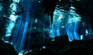 メキシコ(26)セノーテダイビング!! 光のカーテンも洞窟も想像以上!!